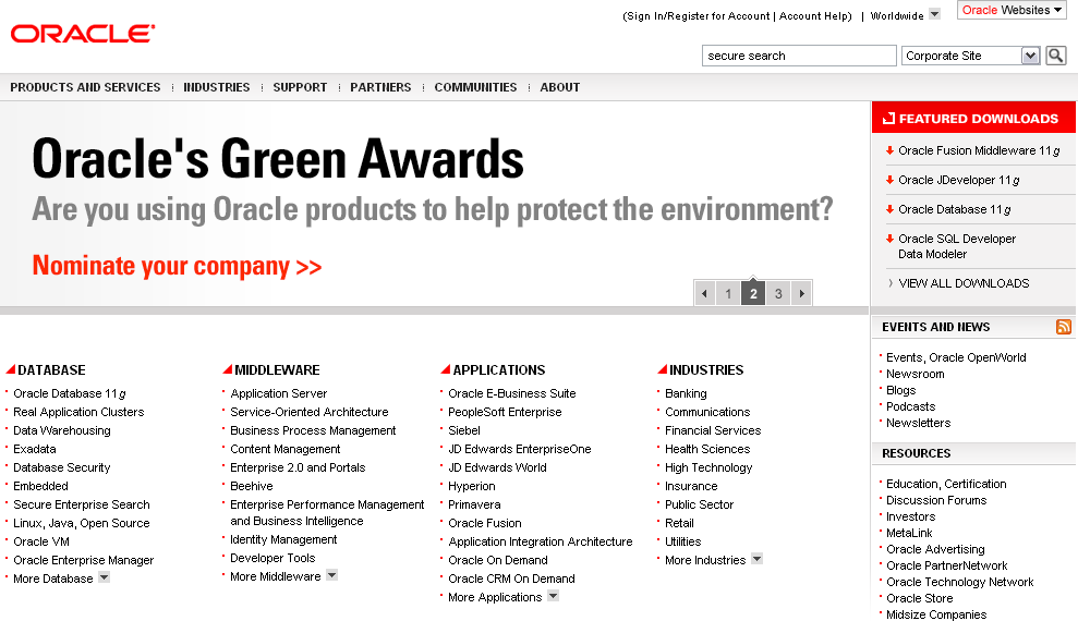 AaronHoos_BusinessWriter_Oraclehomepage